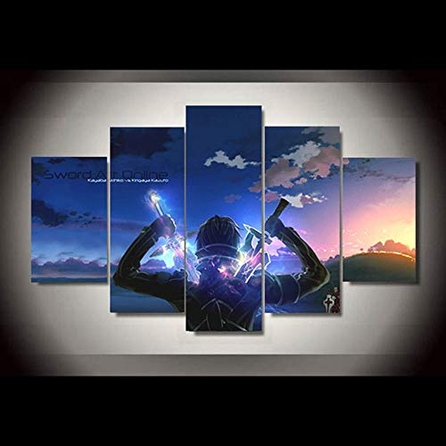 CURNEAL Home Decor Modular Pictures 5 Panel Cartoon Sword Art Online Poster Wall Art Canvas Print Animating Painting Modern Living Room