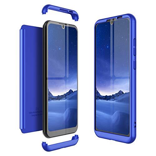 Winhoo Kompatibel mit Huawei Honor Play 8A Hülle Hardcase 3 in 1 Handyhülle 360 Grad Schutz Ultra Dünn Slim Hard Full Body Hülle Cover Backcover Schutzhülle Bumper - Blau