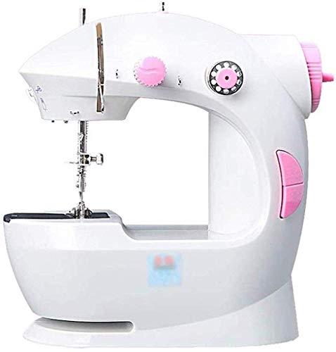 AIWKR Draagbare Naaimachine, Naaimachine mini elektrische handmatige huishoudelijke zware dienst onderhoud lokale joystick, beperkt tot een verscheidenheid van stoffen (Kleur: Roze)