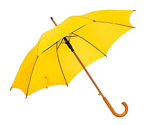 Automatik Regenschirm Holzschirm Stockschirm Portierschirm mit gebogenem Rundhaken Holzgriff in 103 cm Durchmesser von notrash2003 (Gelb)