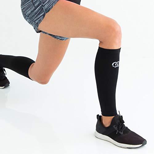 Compressions Socken mit Wadenärmeln zur Unterstützung der Schienbeinschiene für Männer und Frauen (1 Paar) Klein-Mittel Schwarz - 2