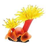 NKDD pecera Paisaje simulación Resina Coral Flor Planta Base Acuario decoración Acuario decoración Amarillo