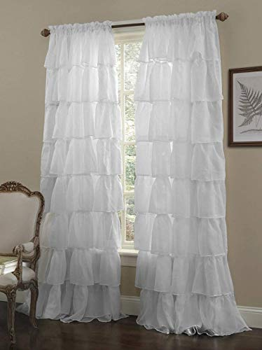 Chezmoi Collection Crushed Voile Sheer Shabby Chic Ruffle Window Curtain Panel (60Wx96L, White)
