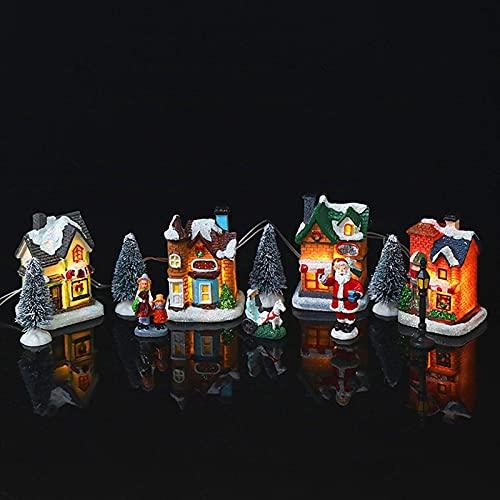 Gyj&mmm Casa de decoración navideña Juego de escenas de iluminación de Mini Pueblo, casa de árbol de Navidad en Miniatura con Pilas LED, para decoración navideña, Regalos, decoración de Adornos