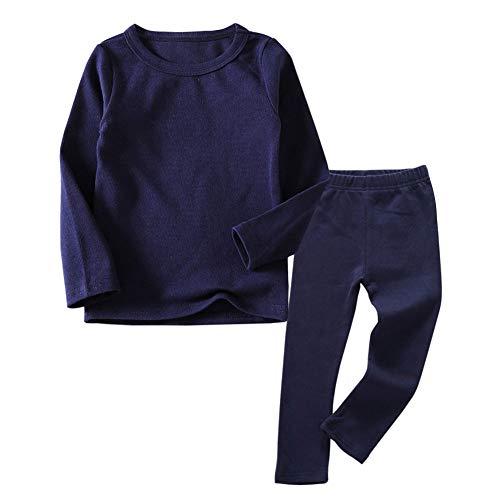 Conjunto de ropa interior térmica para niños pequeños, 2 piezas de cuello redondo y parte inferior de pijama para niños pequeños, de 1 a 7 años, Azul marino, 3 Años