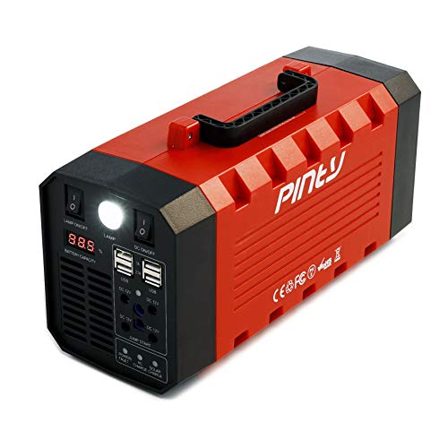 Pinty Portable Uninterrupted Power Supply 500W, UPS Battery Backup, Rechargeable Generator Power Source with AC Inverter, USB, DC 12V Outputs for Outdoors and Indoors (500W, Red)
