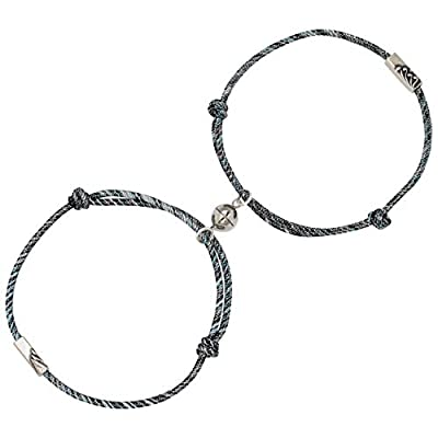 Mutual Attraction Rope Braided Couple Bracelets Vows Of Eternal Love Silver Pendants With Magnetic Bells 2 PCS Gift Jewelry Set For Women Men (Gold)