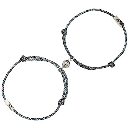 925 Silver Mutual Attraction Rope Braided Couple Distance Bracelets Vows Of Eternal Love Charm Pendants With Magnetic Bells 2 PCS Gift Jewelry Set For Women Men