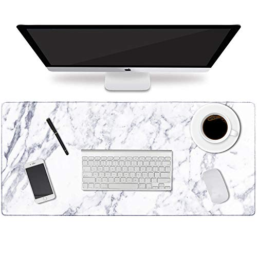 """HAOCOO Desk Pad, Office Desk Mat 35.4"""" �15.7"""" Large Gaming Mouse Pad Durable Extended Computer Mouse Pad Water-Resistant Thick Writing Pads with Non-Slip Rubber Base for Office Home,White Marble"""