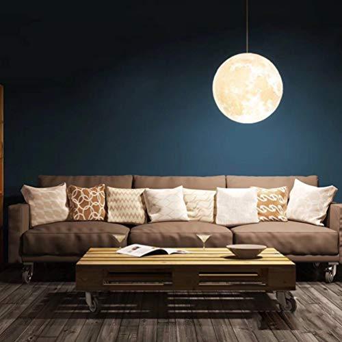 Osaladi Luna - Lámpara de techo con forma de bola decorativa, creativa, lámpara de techo, lámpara para hotel, restaurante, casa (13 cm de madera + cuerda colgante)