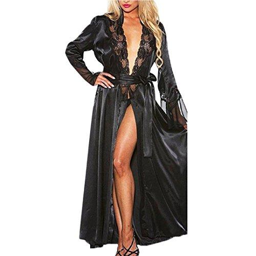 VENMO Bata para Mujer, Mujer Sexy Larga de Seda Kimono Bata Babydoll Encaje lencería baño Albornoz para la Boda Novia Fiesta (Negro, M)