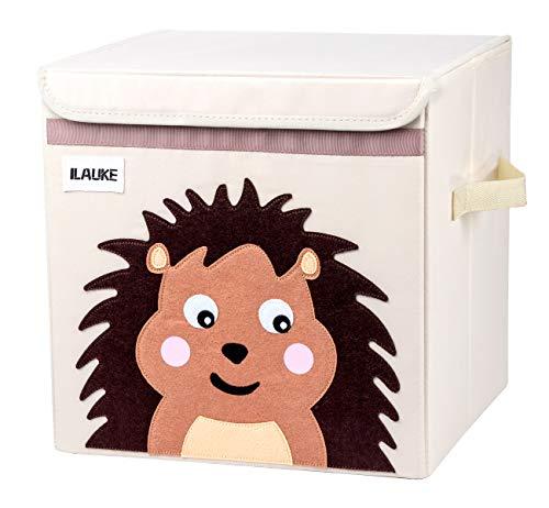 ilauke Kinder Aufbewahrungsbox I Spielzeugbox Igel (33x33x33cm) I Spielzeugkiste mit Deckel für Kinderzimmer I Cartoon Faltbar Aufbewahrungswürfel I Waldtiere Motiv