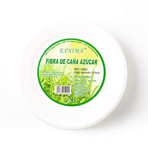 EXNIMA - Platos Desechables biodegradables - Vajilla desechable de Papel de caña de azúca - Platos Llanos Redondos 15,5cm - 50 Unidades