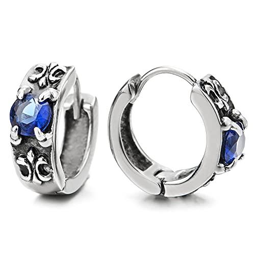 2 Pendientes del Aro, Pendientes para Hombres Mujer, Acero Inoxidablecon, con Azul Zirconia Cúbico