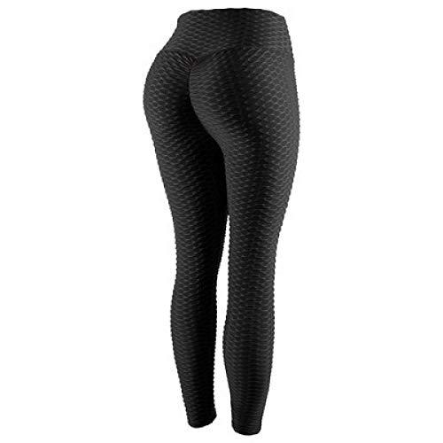 MQQM Running Fitness Estiramiento Yoga Legging,Pantalones de Yoga de Cintura Alta Que levantan la Cadera, Leggings absorbentes de Sudor de Secado rápido-Negro_L,Yoga Running Training Leggings