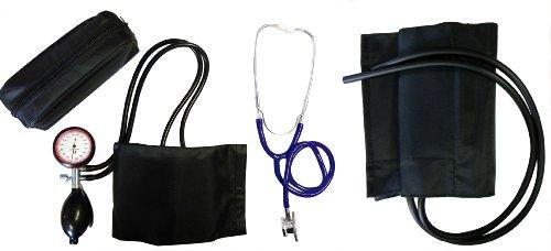 Blutdruckmessgerät Oberarm 2- Schlauch Set Typ XL extra mit extra XL Klettmanschette + Doppelkopfstethoskop Blau Stetoskop Stethoskope Doppelkopf 1 Set