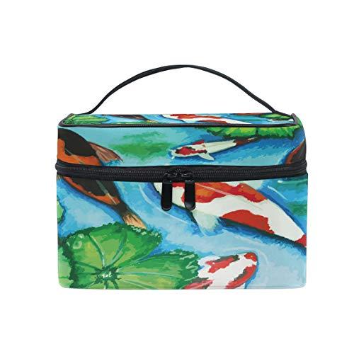HaJie - Bolsa de maquillaje de gran capacidad, organizador de hojas de loto de Japón para viajes, portátil, neceser, bolsa de almacenamiento, bolsa de lavado para mujeres y niñas