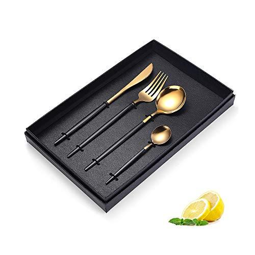 HARVESTFLY Golden Besteck Edelstahl Golden Messer Gabel mit Schwarz Griff Geschirr Set Utensilien Cutlery Besteckset for 1