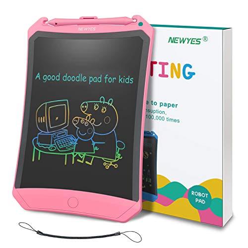 NEWYES Tableta de Escritura LCD 8,5 Pulgadas | Tablet para Dibujar para Niños. Colores Más Brillantes. Pizarra electrónica para Aprender a Leer, Escribir y Manualidades | (Rosa) Trazos de Color
