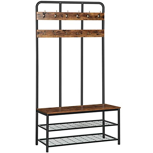 HOOBRO Coat Rack Shoe Bench Pipe Style Hall Tree with 12 Hooks Multifunctional Entryway Storage Shelf Large Size Wood Look Accent Furniture with Metal Frame Easy Assembly Rustic Brown BF05MT01