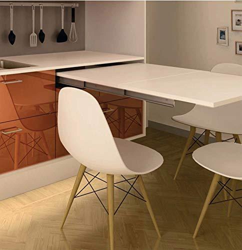 Gedotec - Herraje extensible de mesa para montaje de cuerpo (ancho del cuerpo: 600 mm, capacidad de carga: 60 kg, para cajones de madera, 1 juego, guías extensibles para cajones, Plateado