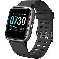 Willful Smartwatch Impermeable Reloj Inteligente con Pulsómetro, Pulsera Inteligente para Deporte con Cronómetro, Podómetro. Smartwatch Hombre Mujer Niños para Android iOS Xiaomi Huawei iPhone(Negro)