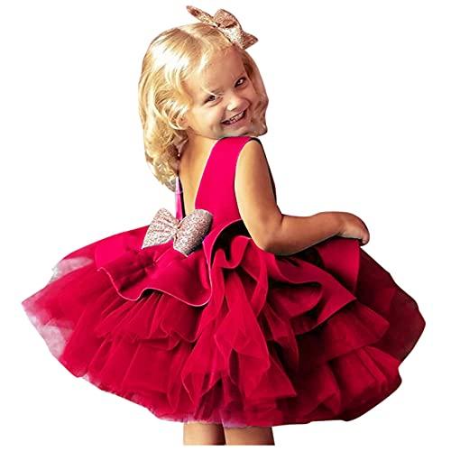 YWLINK Bebé Tul Flor Princesa Boda Vestir Chicas CumpleañOs Vestido,Vestido De Princesa Pettiskirt De Color SóLido con Lazo,Vestido De Bautizo De CumpleañOs Bautismo Vestido De Banquete De Boda