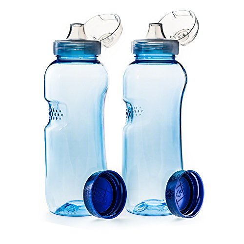 2 x Drinking Bottle 0.5 L with Flip Top Lid Sports Lid by Greiner