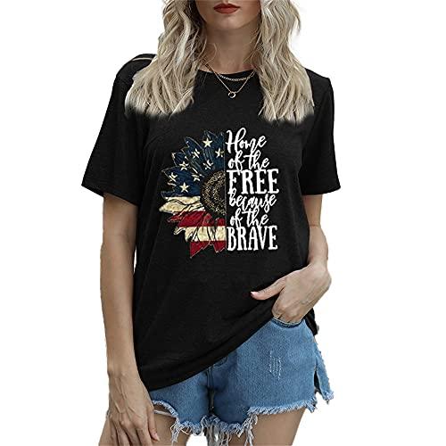 Mayntop Camiseta de manga corta para mujer con diseño de bandera de Estados Unidos, 4 de julio, B-negro, 38