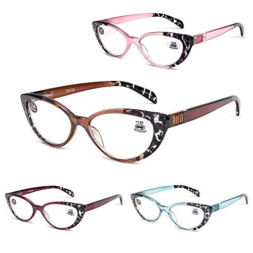Cat Eye Reading Glasses for Women Blue Light Blocking Readers Fashion Ladies Eyeglasses with Spring Hinge 4 Pairs Colors 200