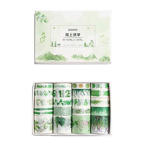 VOANZO Fresh Green Washi Tape 20 Rolls, Grass Leaf Flower Tree Fruit Kawaii Cake Animal Washi Masking Tape Set para Bullet Journal, Planner, Envoltura de Regalos, Decoración navideña