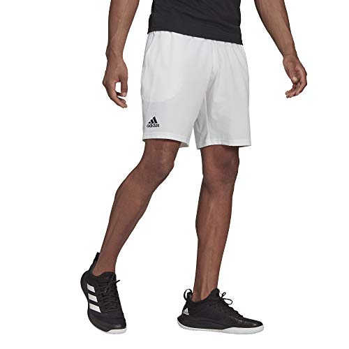 adidas Men's Standard Club Stretch-Woven Tennis Shorts, White/Black, Medium