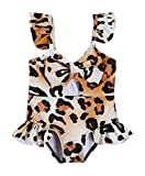 Baby Girl One Piece Hollow Out Swimsuit Sleeveless Ruffle Leopard Snake Skin Floral Print Swimwear Bathing Suit (Leopard, 2-3 Years)