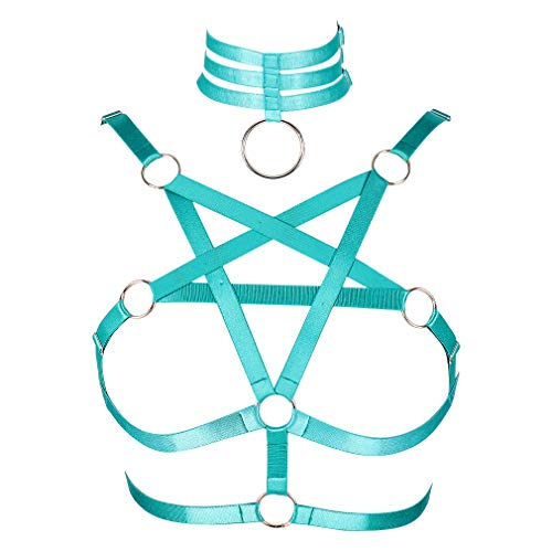 Women's Body Pentagram Harness Bra Lingerie Punk Gothic Belt cage Festival Rave Dance Accessories (Jade Green)
