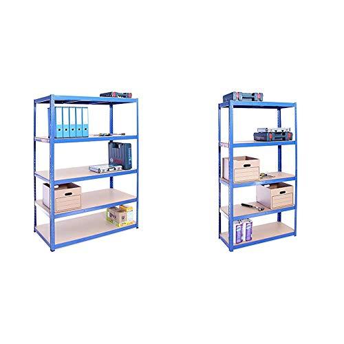 G-Rack Garage Shelving Unit: 180cm x 120cm x 60cm | Single bay, Blue 5 Tier Unit | 175kg Load Weight Per Tier (875kg Per Unit) & 180cm x 90cm x 40cm, Blue 5 Tier (175KG Per Shelf), 875KG Capacity