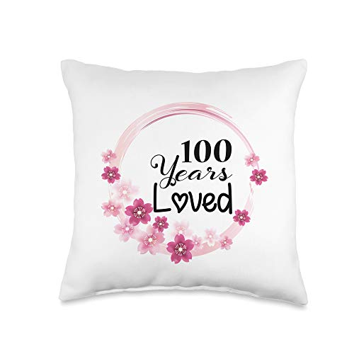 100th Birthday Gifts Idea Loved Funny 100 Years Old Men Women 100th Birthday Throw Pillow, 16x16, Multicolor