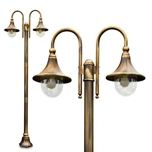 Außenleuchte Elgin, Kandelaber in antikem Look, Metall in Braun/Gold mit Lampenschirmen aus Kunststoff, 2-armige Wegeleuchte 225 cm, Retro/Vintage Gartenlampe, E27-Fassung, je max. 60 Watt, IP44