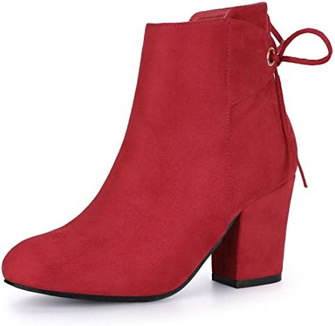 Allegra K Women s Round Toe Block Heel Zipper Red Ankle Boots 9 M US product image
