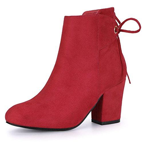 Allegra K Women's Round Toe Block Heel Zipper Red Ankle Boots 8 M US