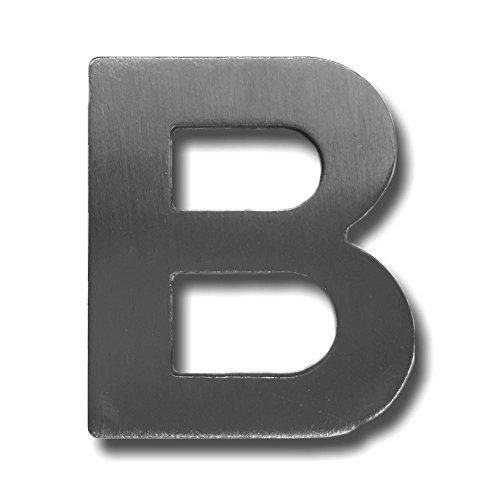 """Metall-Buchstabe """"B"""" aus gebürstetem Edelstahl – Höhe 4cm – Hausnummer, Zimmerbeschriftung, Bürobeschriftung, Türsymbol, Wandbeschilderung – rostfrei und selbstklebend ohne bohren"""