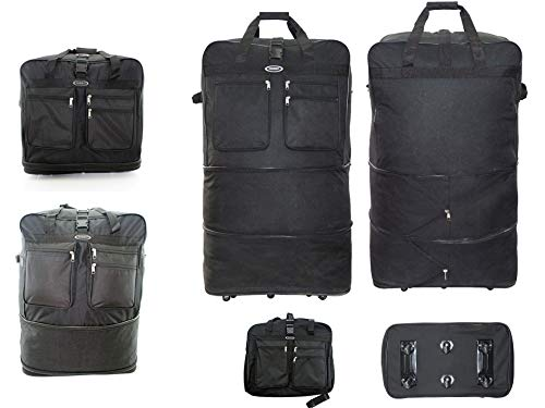 Extra Large Folding Travel Luggage Wheeled Trolley Holdall Duffle Zipper Bags (40' (160 LITERS) - 6WHEELS)