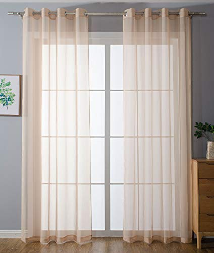 2er-Pack Ösen Gardinen Transparent Vorhang Set Wohnzimmer Voile Ösenvorhang Bleibandabschluß HxB 225x140 cm Sand, 203322