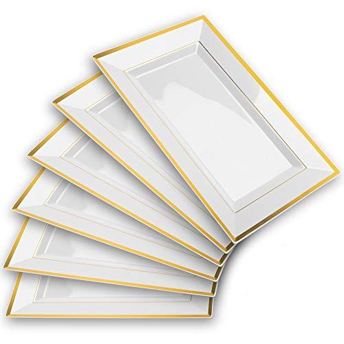 Mint Living - Elegant Plastic Serving Tray & Platter Set (6pk) - White & Gold Rim Disposable Serving Trays & Platters for Food - Weddings, Upscale Parties, Dessert Table, Cupcake display -...