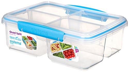 Sistema to go Quad Split Frischhaltedose, transparent mit farbigem Clips, 1,7l