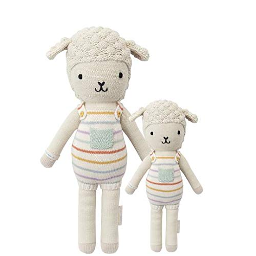 """CUDDLE + KIND Avery The Lamb Regular 20"""" Hand-Knit Doll – 1 Doll = 10 Meals, Fair Trade, Heirloom Quality, Handcrafted in Peru, 100% Cotton Yarn"""