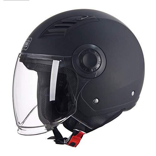 ZJRA Matte Negro Adulto Masculino y Hembra Cinturón Universal Abrir Motocicleta Casco Protección de Seguridad Bicicleta Off-Road Motorcycle ATV Cruiser Dot/Certificación ECE,XXL