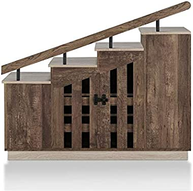 Furniture of America Barstead Wood Staircase Shoe Cabinet in Reclaimed Oak