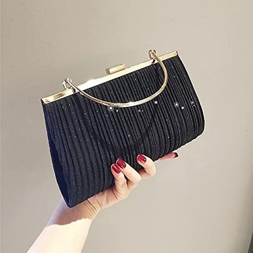 wbwlfjtlll Women Mini Handbag Luxury Apricot Evening Clutch Bag Party Chain Shoulder Bag Female Sequin Wedding Purse Bag ZD1704 (Color : Black)