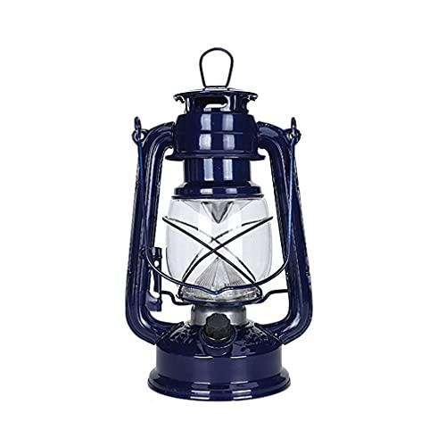 Rishx-lamp Lámpara de huracán de Bronce de la lámpara de la lámpara de la batería, Metal, Diamante Variable Conjunto Retro Linterna (Deep Blue)