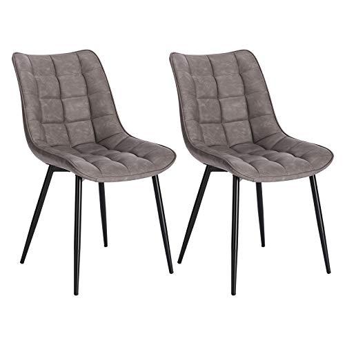 WOLTU® Esszimmerstühle BH207dgr-2 2er Set Küchenstuhl Polsterstuhl Wohnzimmerstuhl Sessel mit Rückenlehne, Sitzfläche aus Kunstleder, Metallbeine, Antiklederoptik, Dunkelgrau